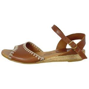 Pimaz Stitched Brown Leather Open Toe Sandal